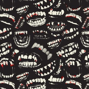 Monster Mouths! With Blood! - Black / Ecru