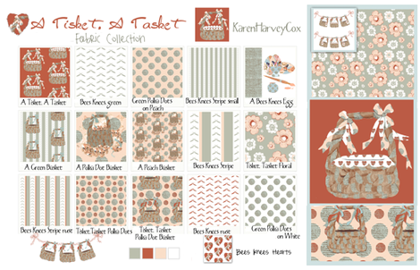 A Tisket, A Tasket Fabric Collection Cotton Sateen Sampler fabric by karenharveycox on Spoonflower - custom fabric