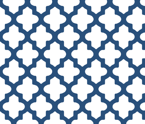 Moroccan Quatrefoil in Navy Blue fabric by fridabarlow on Spoonflower - custom fabric