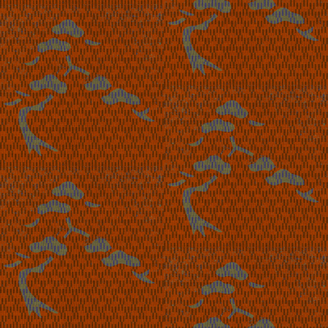 bonsai - burnt orange, blue, green fabric by materialsgirl on Spoonflower - custom fabric