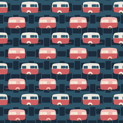 Caravan Dark Blue fabric by kathyjuriss on Spoonflower - custom fabric