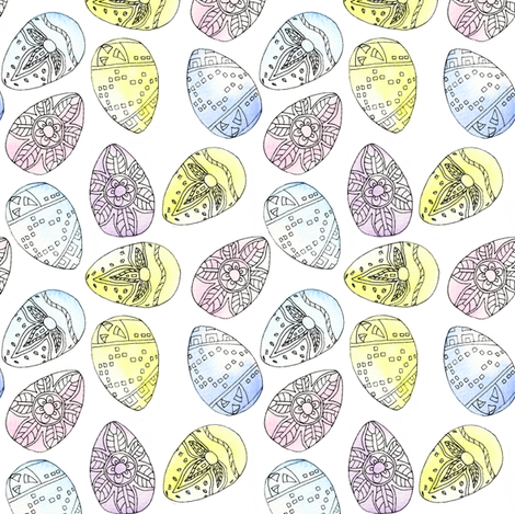 Watercolour_Eggs fabric by louiseisobel on Spoonflower - custom fabric