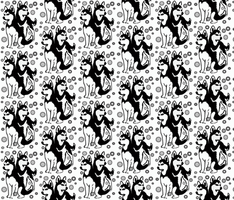 Siberian Husky_with_snowflakes fabric by dogdaze_ on Spoonflower - custom fabric