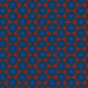 Blue dots on red