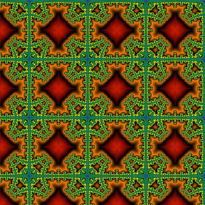 Fractal Plaid green/orange/black