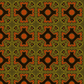 Fractal Plaid gold, orange, black
