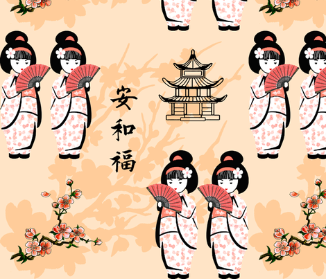 Japanese girls - big fabric by krs_expressions on Spoonflower - custom fabric