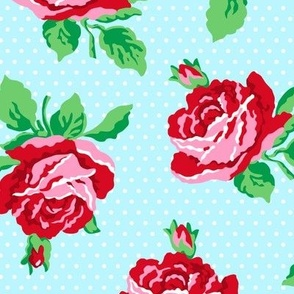 Summer Cottage - Roses on Aqua