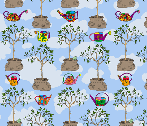 Tree Time, Gardening tools fabric by joojoostrees on Spoonflower - custom fabric