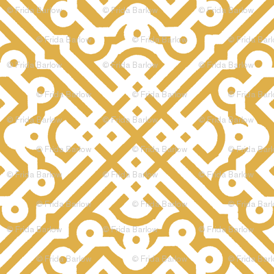 Modern Embroidered Labyrinth in Yellow Gold