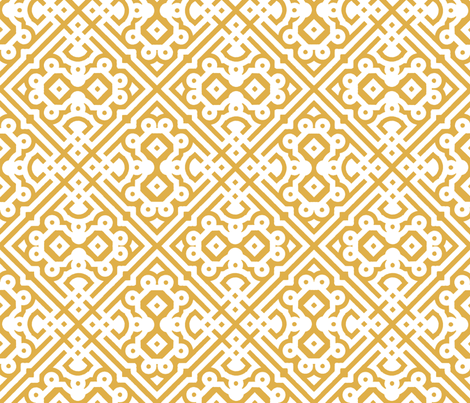 Modern Embroidered Labyrinth in Honey Gold fabric by fridabarlow on Spoonflower - custom fabric