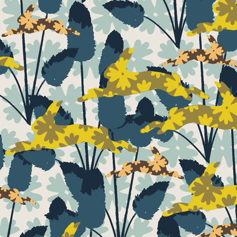 Bunny Tails Blue fabric by kathyjuriss on Spoonflower - custom fabric