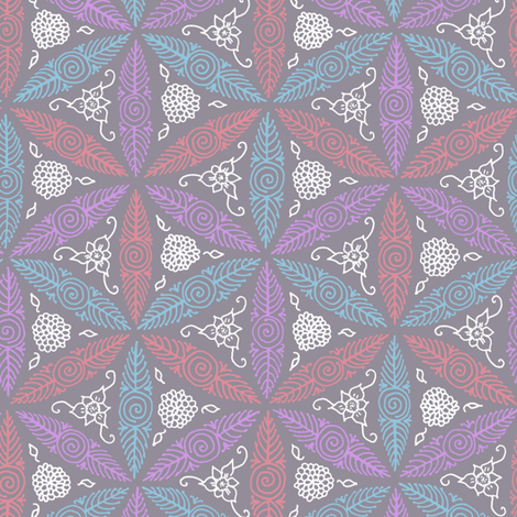 Pysanky floral in grey fabric by weavingmajor on Spoonflower - custom fabric