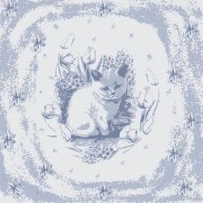Grumpy Kitten Delft Toile