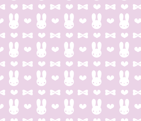 Pretty Bunny Pattern-Purple fabric by noctyink on Spoonflower - custom fabric