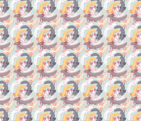 axolotls fabric by psitty on Spoonflower - custom fabric