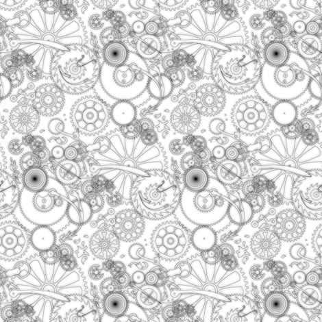 Geartrain--ink fabric by artgarage on Spoonflower - custom fabric