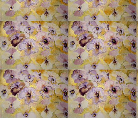 PANSIES_AND_VIOLAS_THE_PURPLE_AND_GOLD fabric by geaausten on Spoonflower - custom fabric