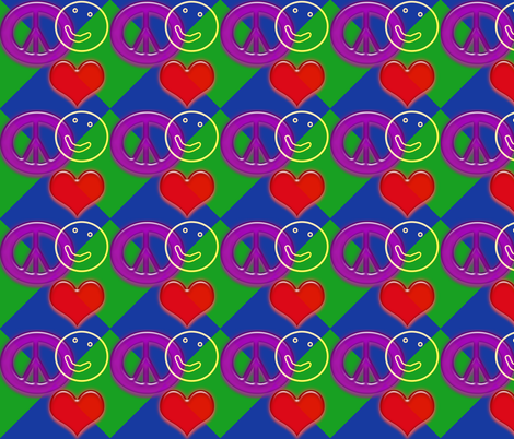 LovePeaceHappyBlueGreen fabric by custom_designer_trish on Spoonflower - custom fabric