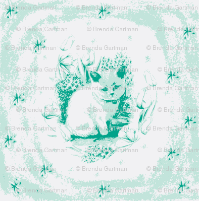 Grumpy Kitten in Mint and Emerald Green