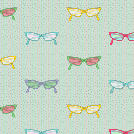 geek dress code multicolor glasses on dots and stripes fabric by glimmericks on Spoonflower - custom fabric