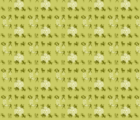 zodiac olive fabric by krs_expressions on Spoonflower - custom fabric