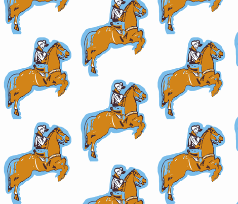Rootin Tootin Fun -light blue brown fabric by bettinablue_designs on Spoonflower - custom fabric