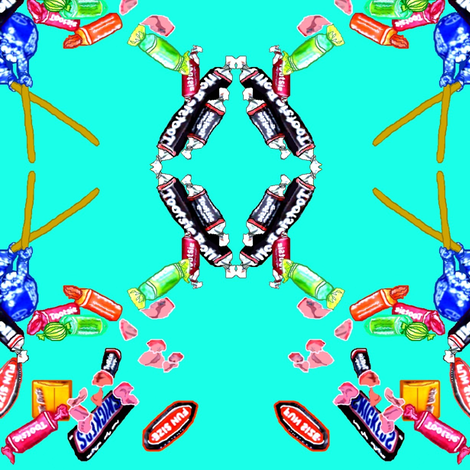 Candy! on Turquoise fabric by robin_rice on Spoonflower - custom fabric
