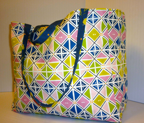 Tote Bag:  Argyle Spring/Fat Birds