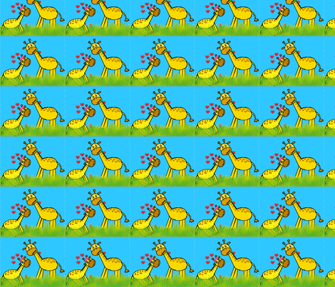Baby Giraffe Love - Small fabric by brandi_ on Spoonflower - custom fabric