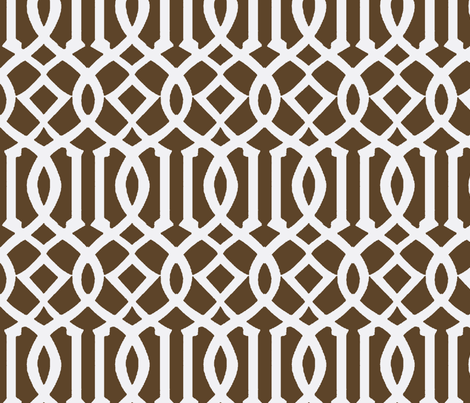 Imperial Trellis Brown/White-Large fabric by melberry on Spoonflower - custom fabric