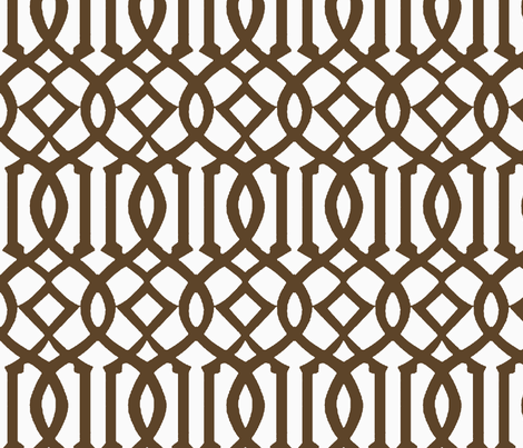 Imperial Trellis-Brown/White-Reverse-Large fabric by melberry on Spoonflower - custom fabric