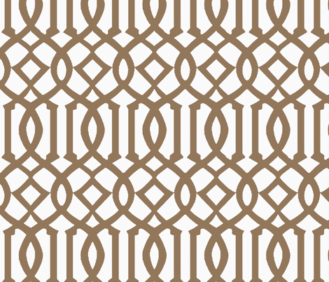 Imperial Trellis-Light Brown/White-Reverse-Large fabric by melberry on Spoonflower - custom fabric