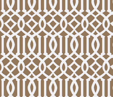 Imperial Trellis Light Brown/White-Large fabric by melberry on Spoonflower - custom fabric