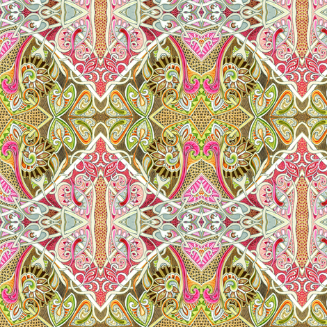 Old Fashioned Twisted Paisley Victorian (in orange/red/brown) fabric by edsel2084 on Spoonflower - custom fabric