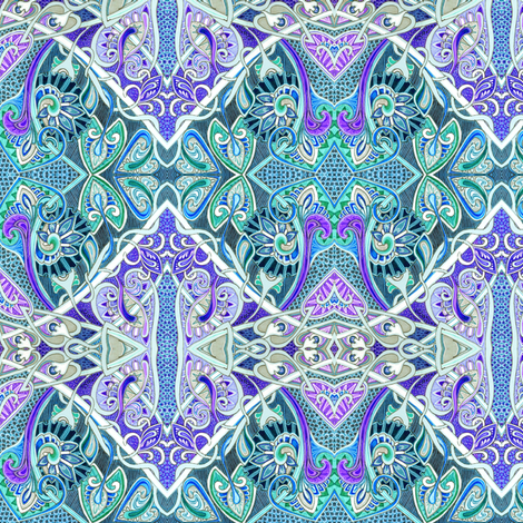 Old Fashioned Twisted Paisley Victorian (in blue/purple) fabric by edsel2084 on Spoonflower - custom fabric
