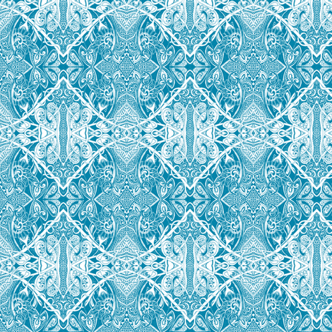 Cyan Lace (a pseudo old fashioned Victorian adventure) fabric by edsel2084 on Spoonflower - custom fabric
