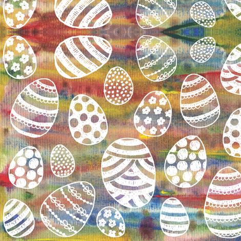 Painted Eggs - white fabric by jennifer_clarke_designs on Spoonflower - custom fabric