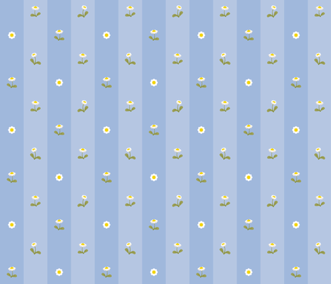 Daisy field blue fabric by macywong on Spoonflower - custom fabric