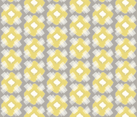 Plaid Ikat Driftwood Grey Citron fabric by lulabelle on Spoonflower - custom fabric
