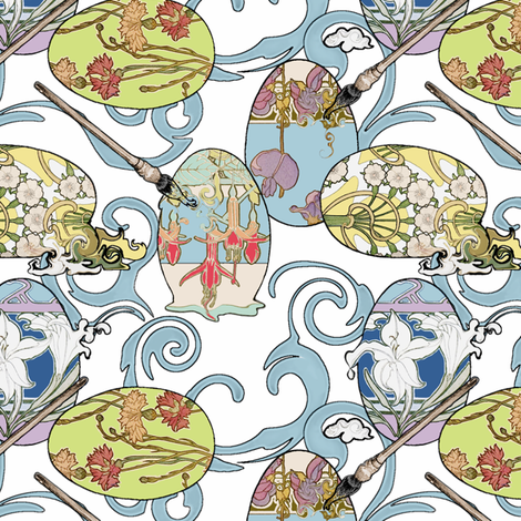 Art Nouveau Eggs fabric by miart on Spoonflower - custom fabric