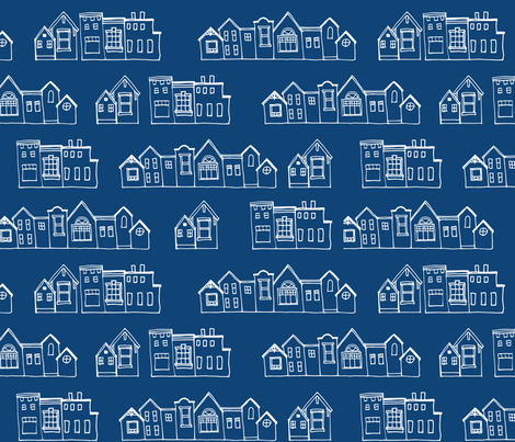 Monaco Blue Village fabric by mrshervi on Spoonflower - custom fabric