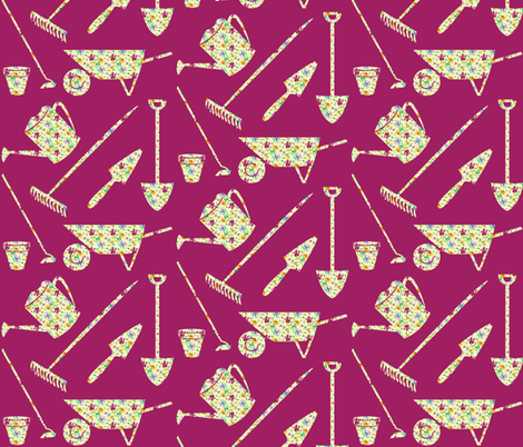 garden-tools fabric by hmooreart on Spoonflower - custom fabric