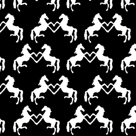 Rearing Hearts on Black fabric by ragan on Spoonflower - custom fabric