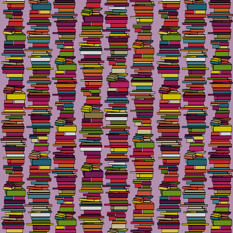 book stack lilac fabric by scrummy on Spoonflower - custom fabric