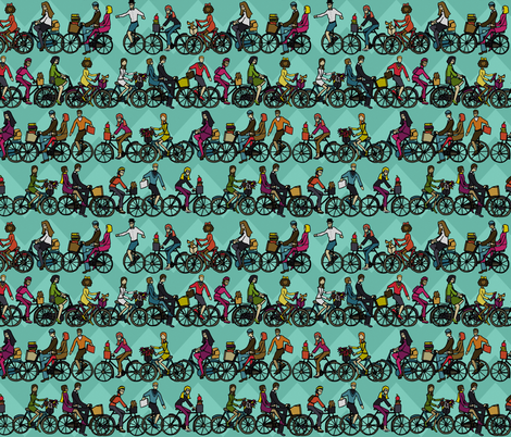 chevron bikes mint fabric by scrummy on Spoonflower - custom fabric