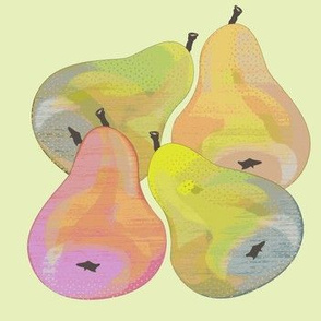 colorful pears soft green
