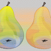 colorful pears in a row