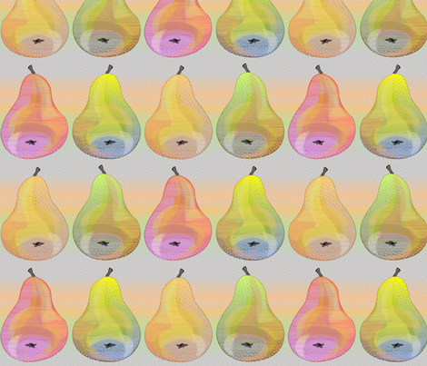 colorful pears in a row fabric by glimmericks on Spoonflower - custom fabric