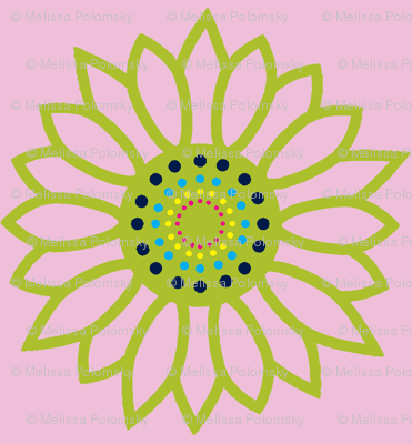 Mandala Flower in Lime and Pink